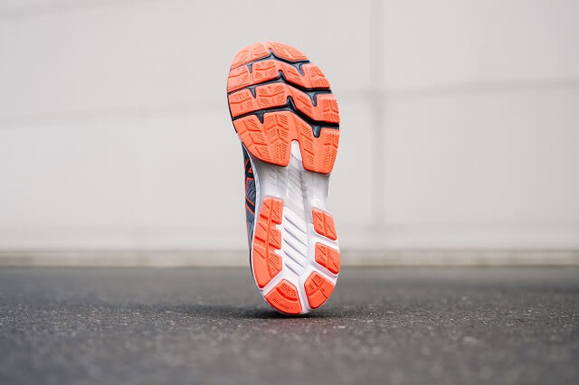 The outsole of the ASICS GEL-Kayano 27 running shoe was designed for women and men for more stability and comfort when running