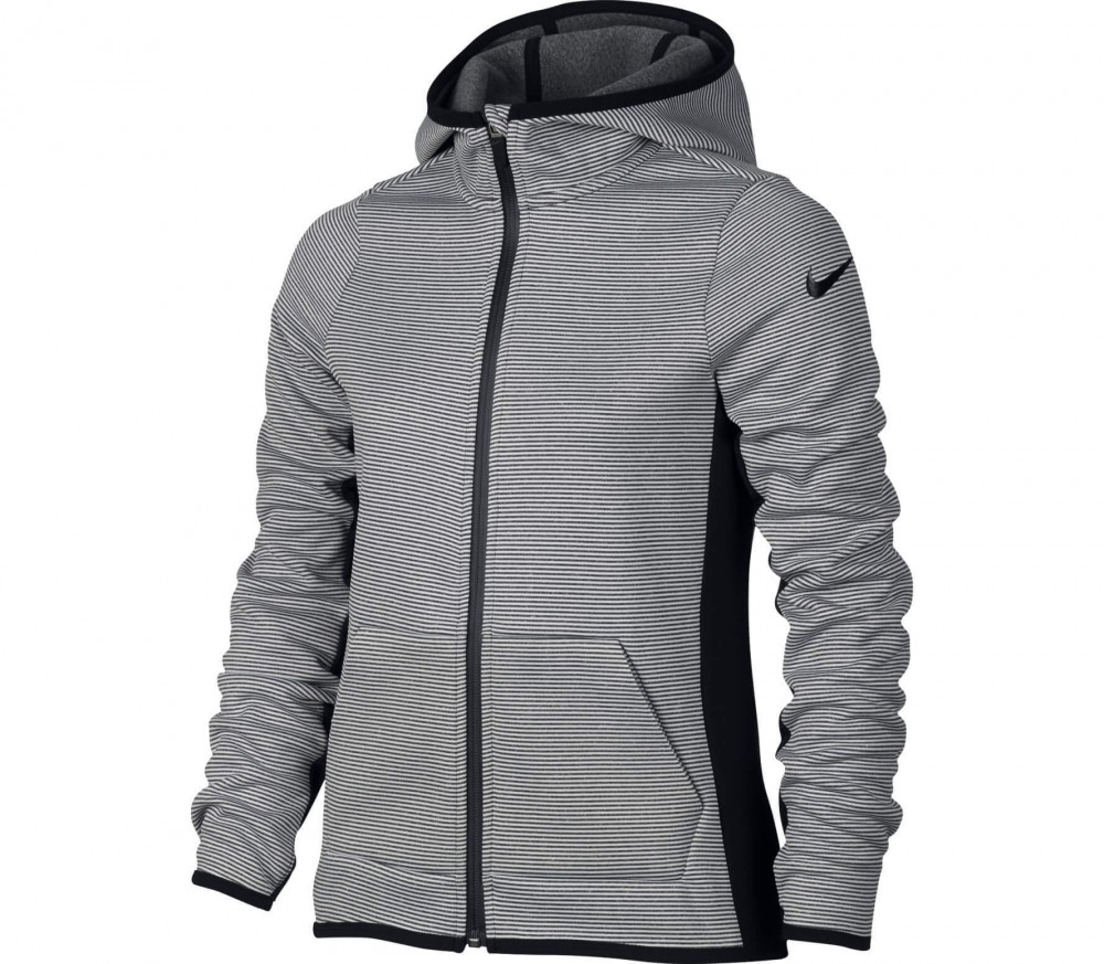 nike therma children 39 s running hoodie grey black buy it at the keller sports online shop. Black Bedroom Furniture Sets. Home Design Ideas