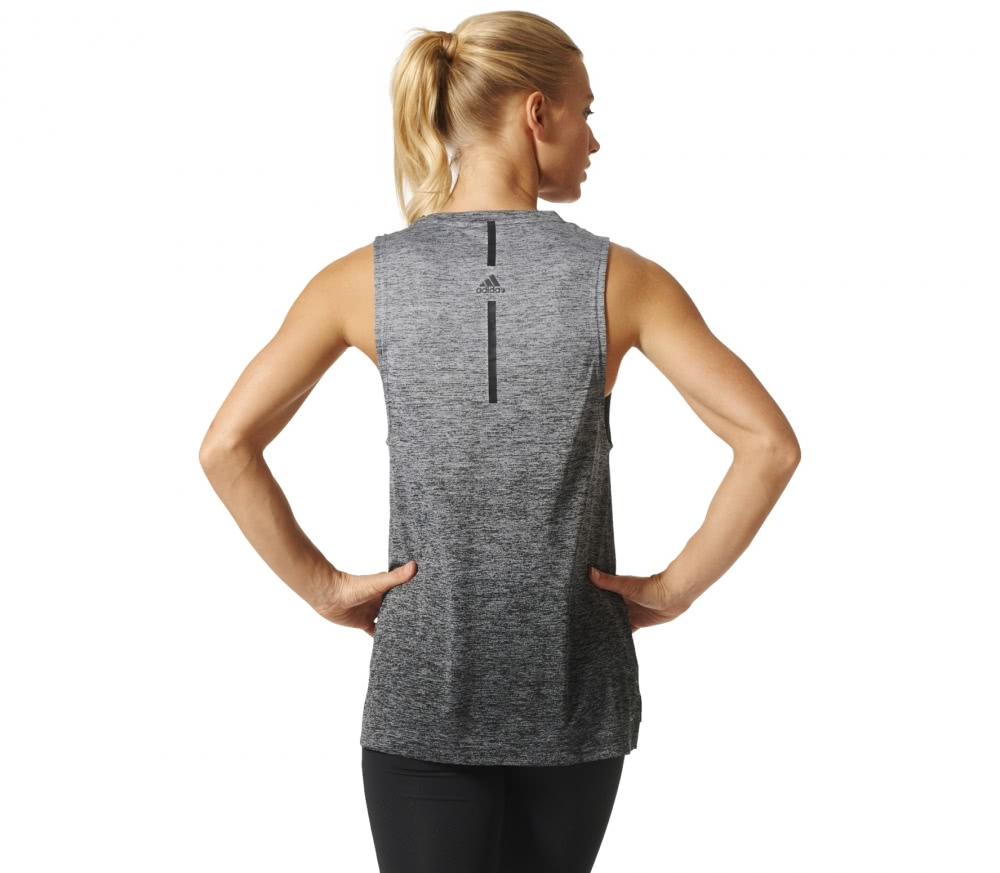 Adidas - Boxy Melange women's training tank top top (grey/black)