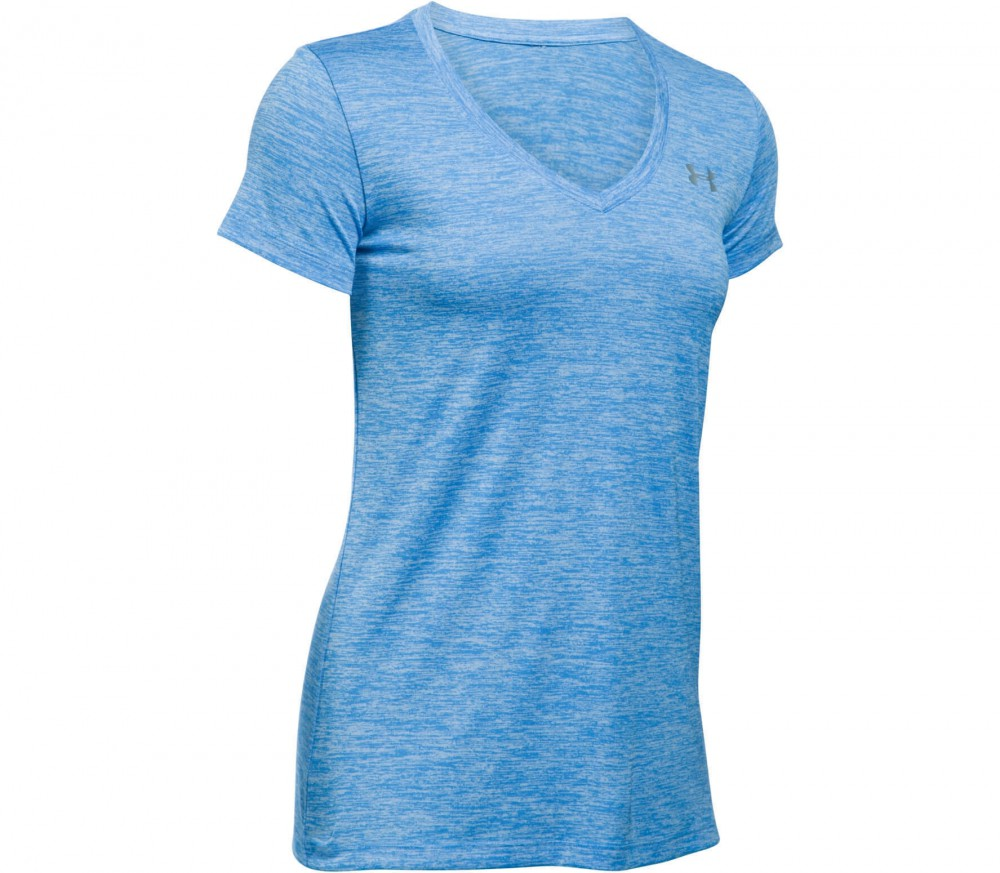 Under Armour - Tech Shortsleeve V-Neck Twist women's training top (blue)