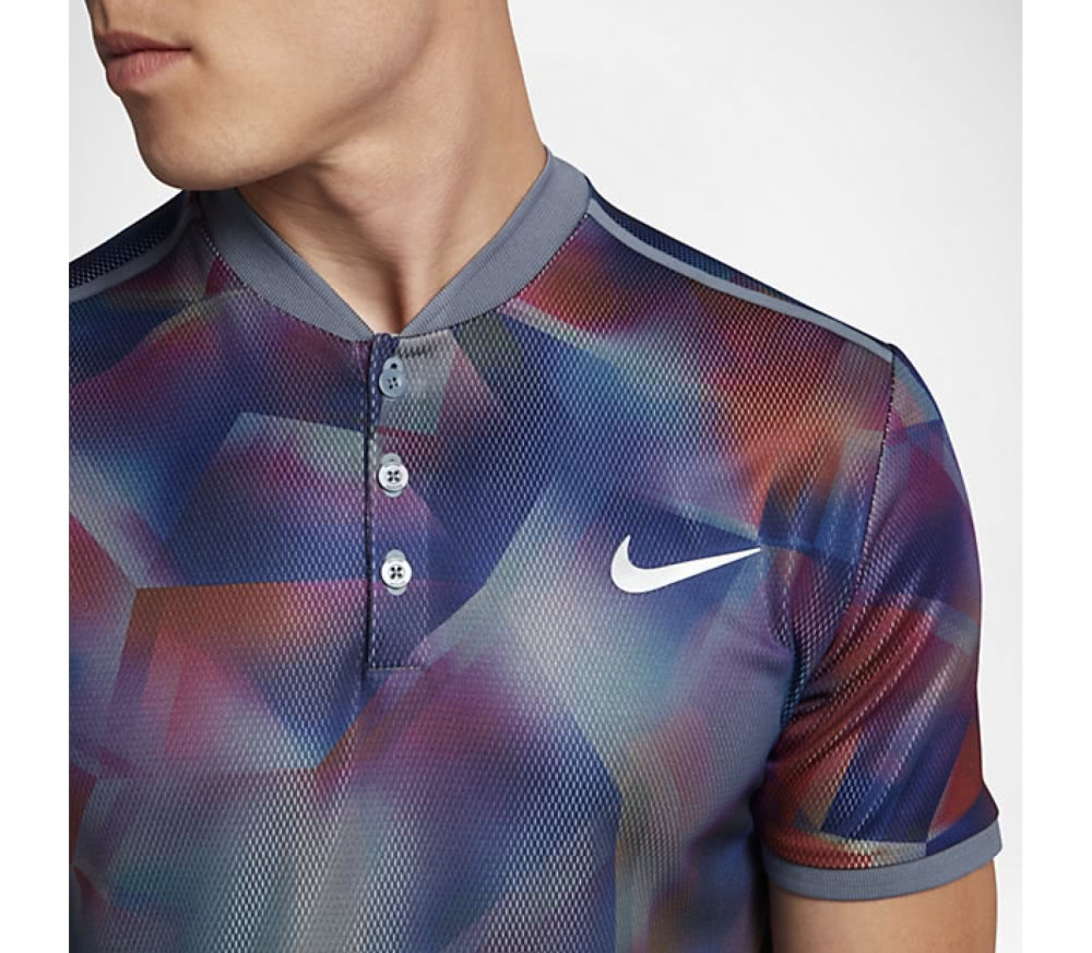 Nike - Court Dry Advantage Shortsleeve men\'s tennis polo top (blue-red)