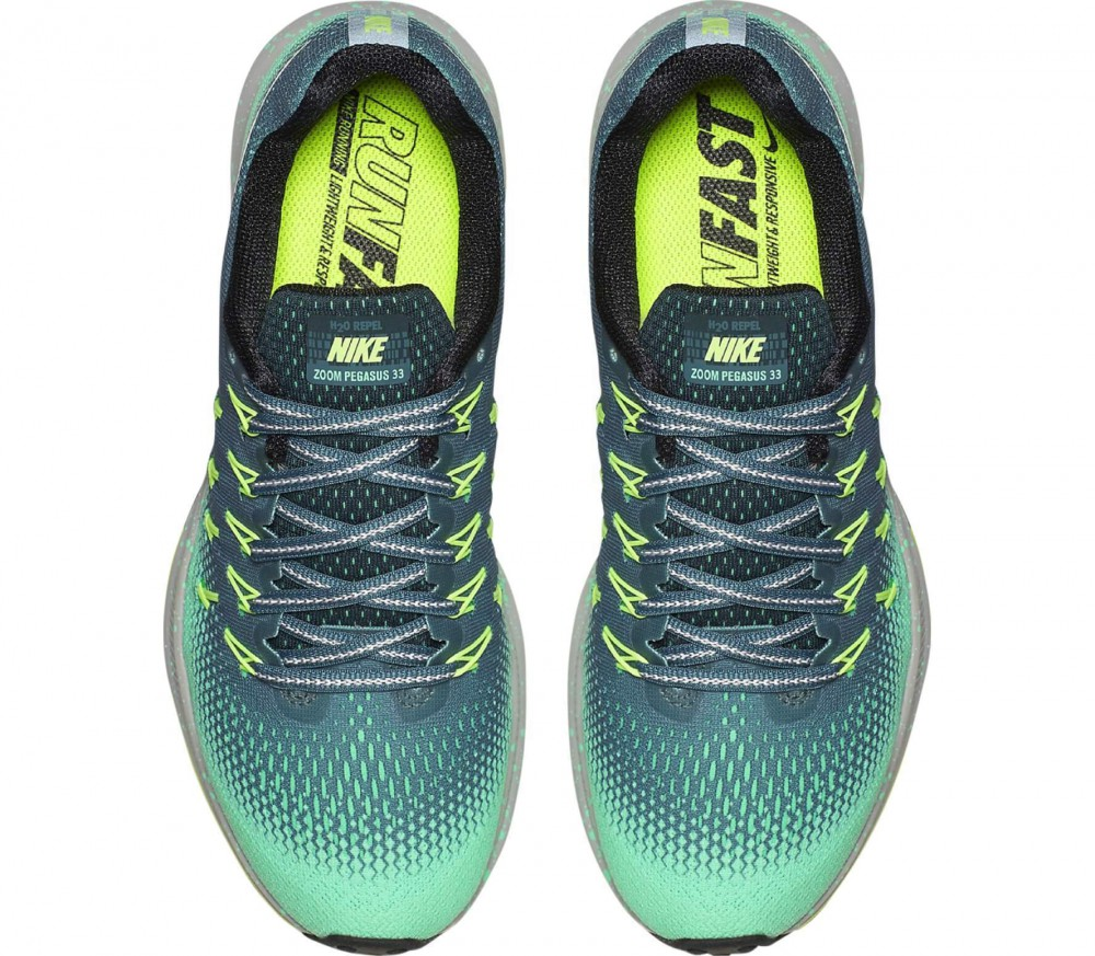Nike - Air Zoom Pegasus 33 Shield women's running shoes (dark green/light yellow)