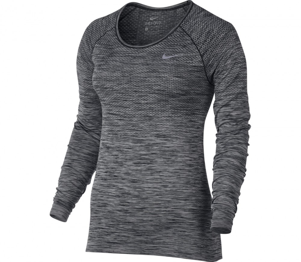 Nike - Dri-Fit Knit Longsleeve women's running top (black/grey)