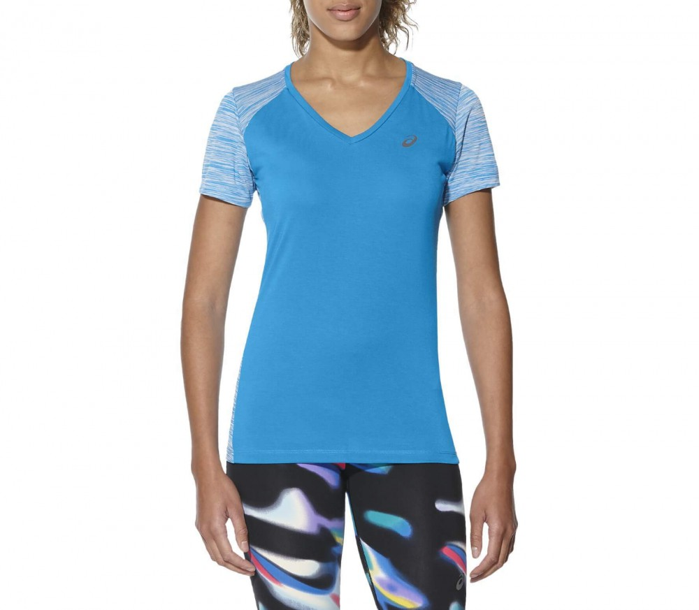 Asics - fuzeX V-Neck Shortsleeve women's running top (blue/white)