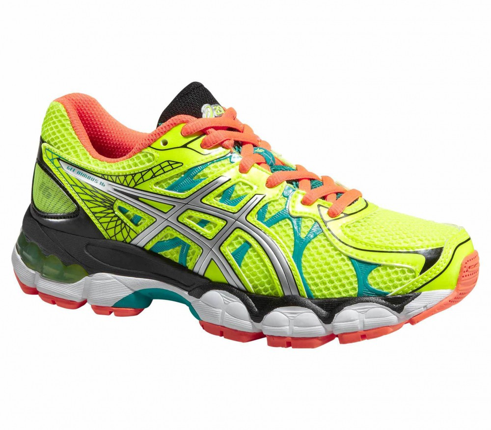 asics gel nimbus 16 gs junior running shoes yellow orange buy it at the keller sports. Black Bedroom Furniture Sets. Home Design Ideas