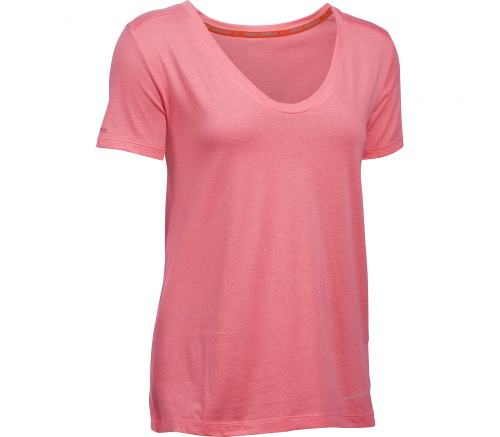Under Armour - Cotton Cuffed Microthread Shortsleeve Voop women's training top (pink)