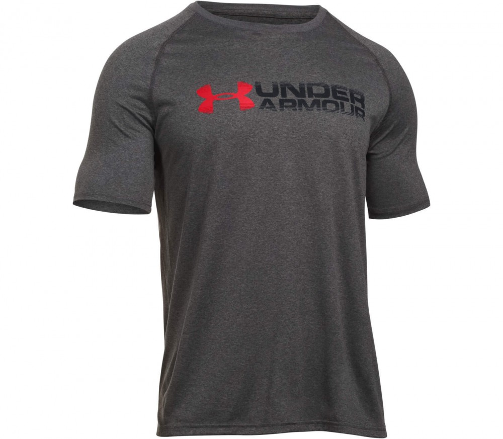 Under Armour - Tech Fade Away Wordmark Shortsleeve men's training top (dark grey/red)