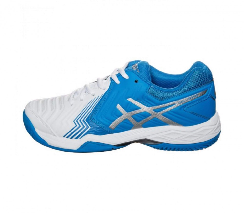 asics gel game 6 clay women 39 s tennis shoes white blue buy it at the keller sports online shop. Black Bedroom Furniture Sets. Home Design Ideas