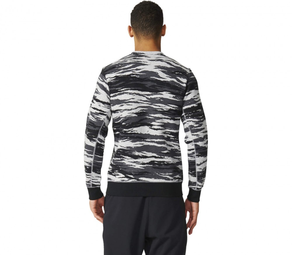 Adidas - Linear Camo Crew men's training hoodie (black/grey)
