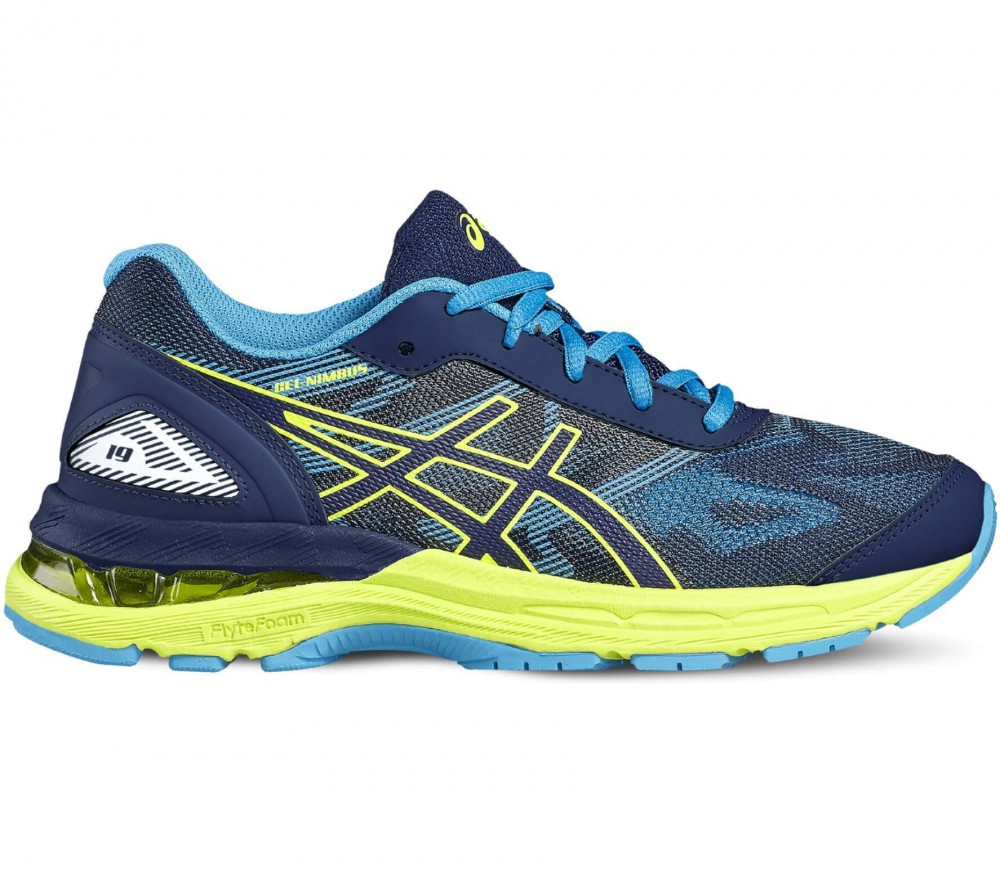 ASICS - Gel-Nimbus 19 GS children's running shoes (blue/yellow)