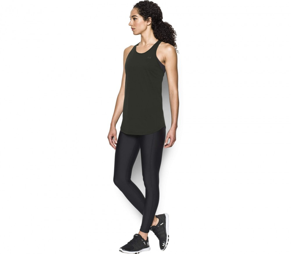 Under Armour - Cotton Cuffed Microthread Keyhole women's training tank top top (black)