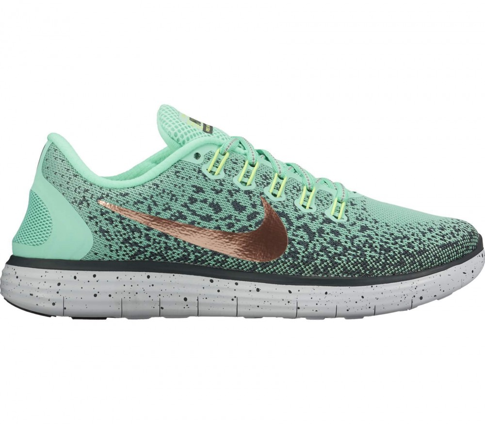 Nike - Free RN Distance Shield women's running shoes (dark green/light yellow)