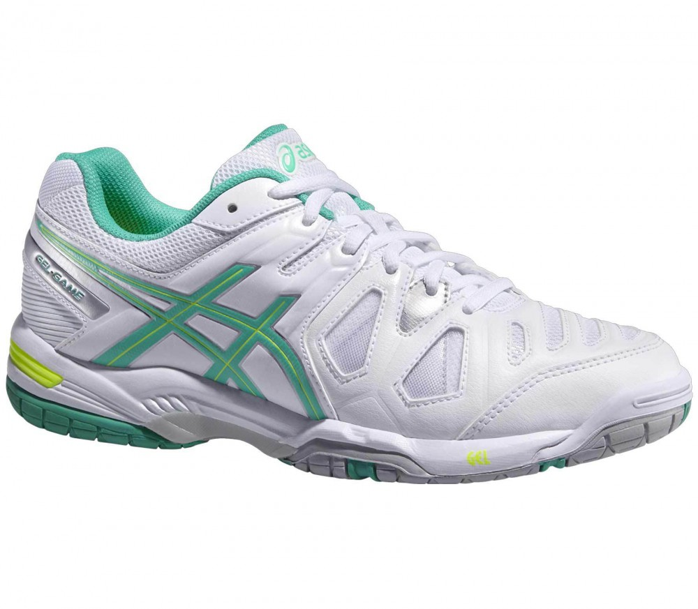 asics gel game 5 women 39 s tennis shoes green white buy it at the keller sports online shop. Black Bedroom Furniture Sets. Home Design Ideas