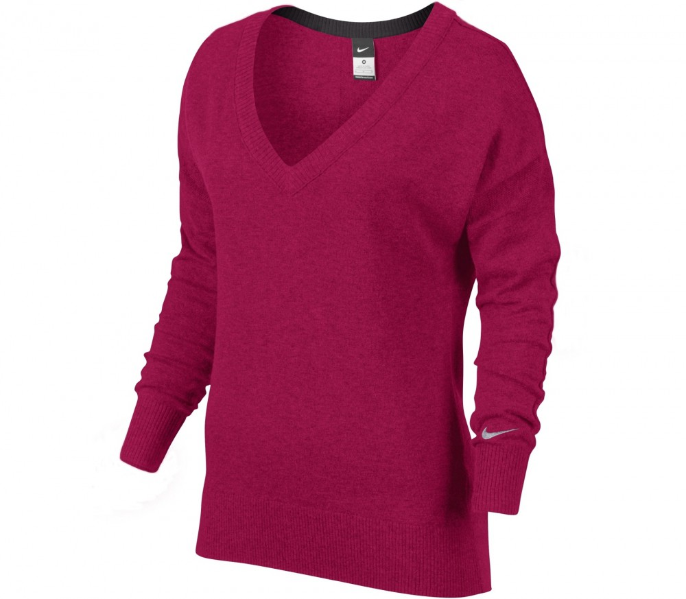 nike dri fit knit sweater women 39 s tennis top red silver buy it at the keller sports online