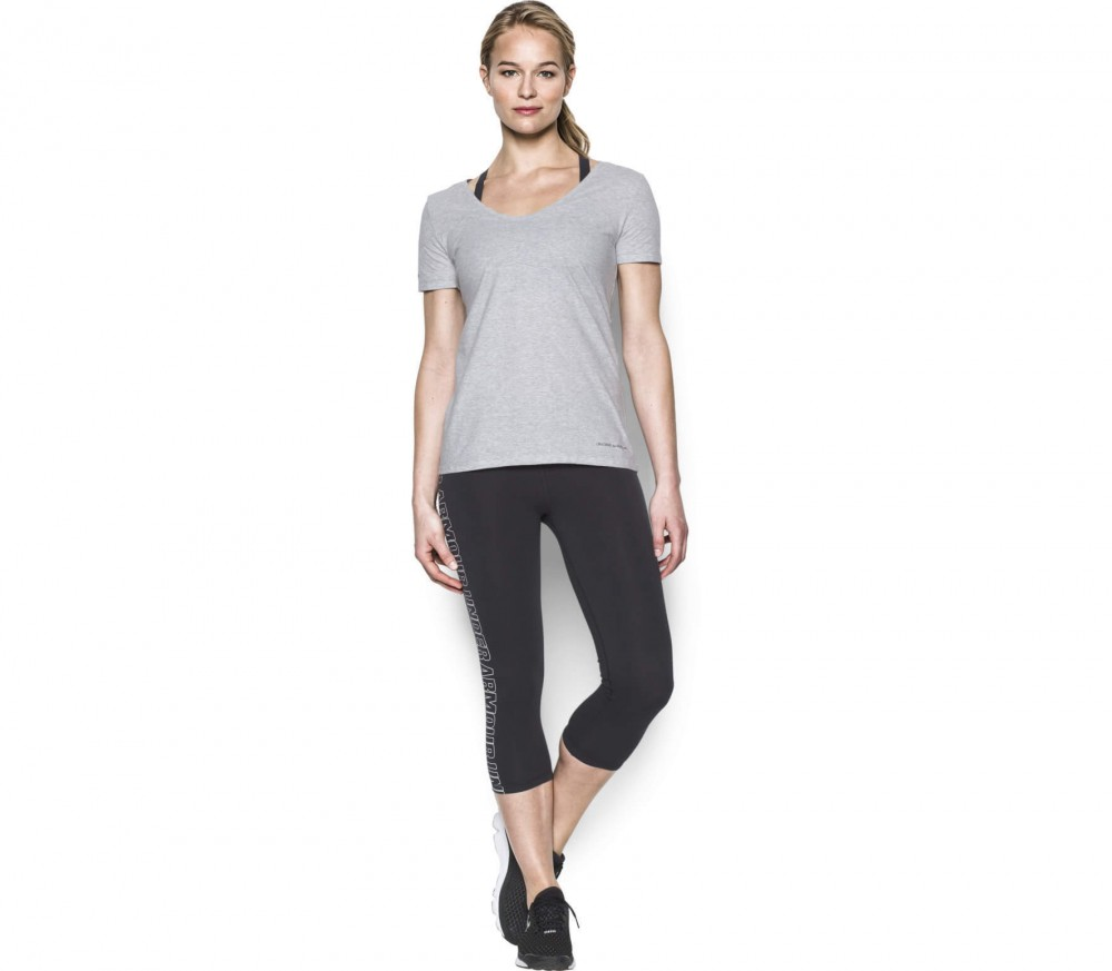 Under Armour - Cotton Cuffed Microthread Shortsleeve Voop women's training top (light grey)