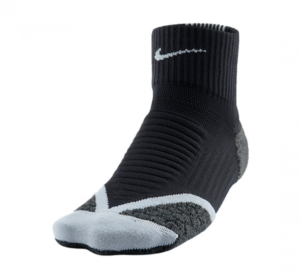 Nike - Elite Running Cushioned Quarter running socks (black/grey)