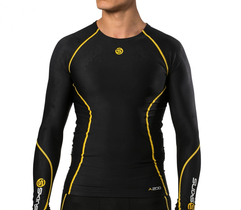Skins - A200 Long sleeve top men's compression top (black/yellow)