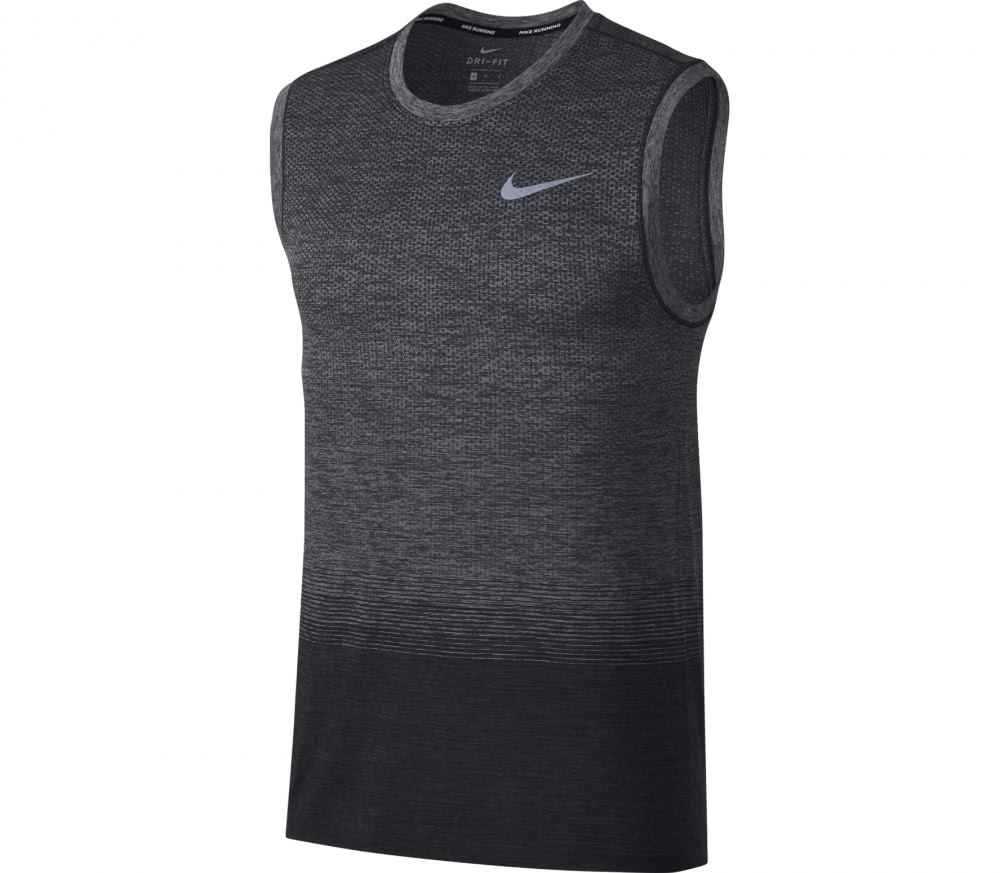 nike dri fit knit sleeveless men 39 s running top grey. Black Bedroom Furniture Sets. Home Design Ideas