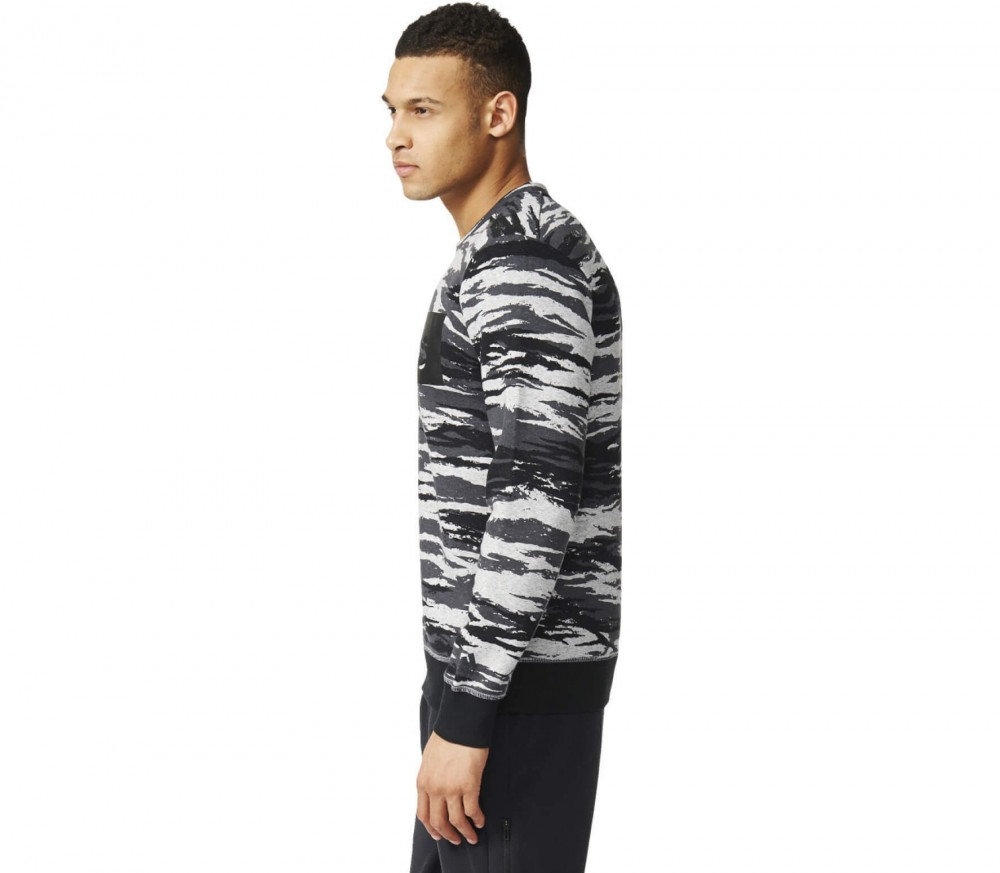 Adidas - Linear Camo Crew men's training sweatshirt (black/grey)