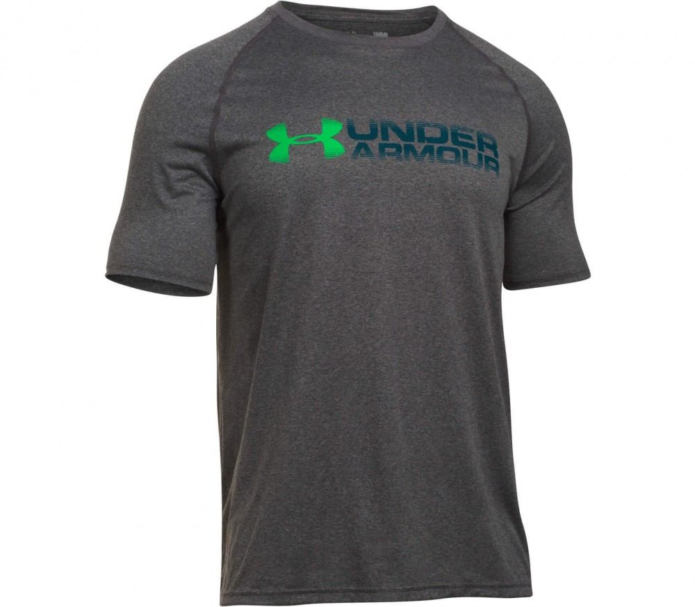 Under Armour - Tech Fade Away Wordmark Shortsleeve men's training top (dark grey/green)