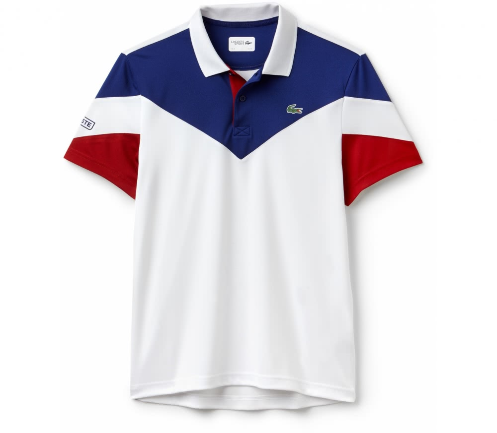 Lacoste - Ribbed Collar Shortsleeve men's tennis polo top (white/red)