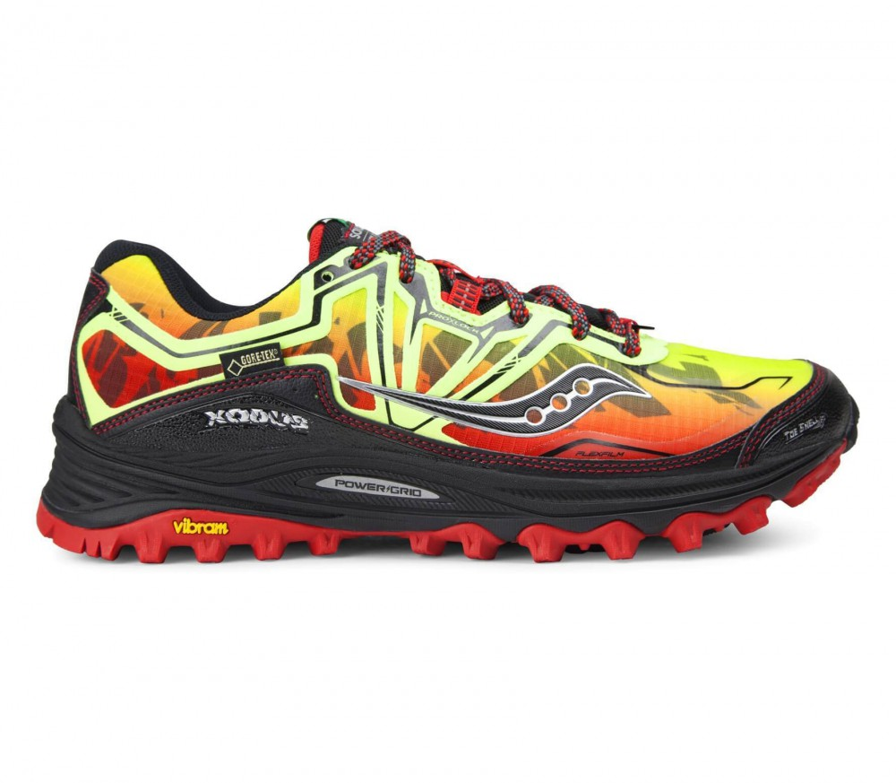 saucony xodus 6 0 gtx men 39 s running shoes yellow red. Black Bedroom Furniture Sets. Home Design Ideas