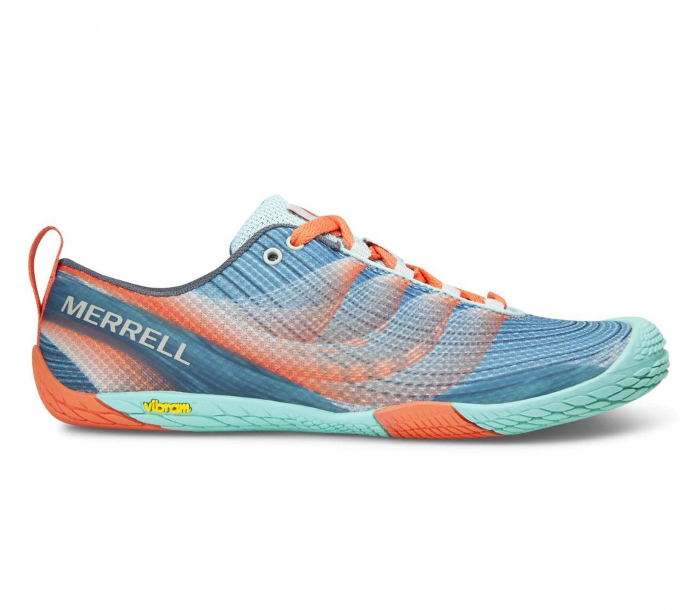 Merrell - Vapor Glove 2 women's trail running shoes (turquoise/orange)