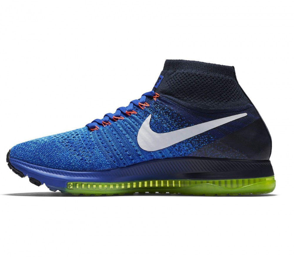 nike zoom all out flyknit men 39 s running shoes blue white buy it at the keller sports. Black Bedroom Furniture Sets. Home Design Ideas