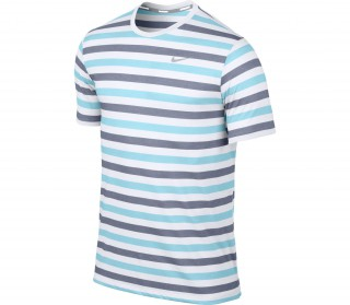 Nike - Dri-Fit Touch Tailwind SS Striped Men's Running Shirt (white/turquoise)