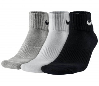 Nike - Cushion Quarter training socks - 3 pairs (grey/white/black)