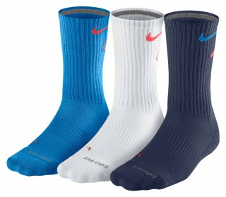 Nike - Dri-Fit Fly Crew men's  tennis socks - 3 pair ( blue/white/dark blue)