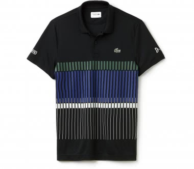Lacoste - Novak Djokovic Ribbed Collar Shortsleeve men's tennis polo (black/green)