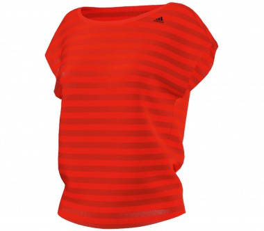 Adidas - Q4 Striped women's training top (orange/red)