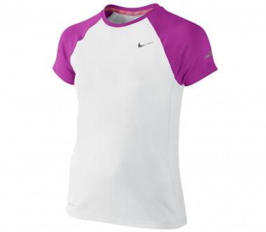 Nike - Miller Shortsleeve Crew children's running top (white/violet)