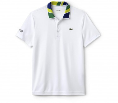 Lacoste - Ribbed Collar Shortsleeve men's tennis t-shirt (white/yellow)