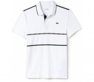 Lacoste - Ribbed Collar Shortsleeve men's tennis polo top (white/green)