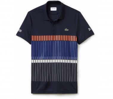 Lacoste - Novak Djokovic Ribbed Collar Shortsleeve men's tennis polo (dark blue/red)