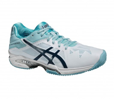 Asics - Gel-Solution Speed 3 Clay women's tennis shoes (white/light blue)