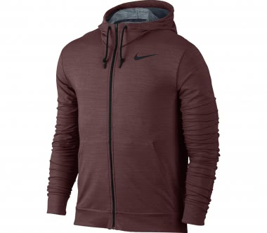 Nike - Dry fleece Full-Zip men's training hoodie (dark red)