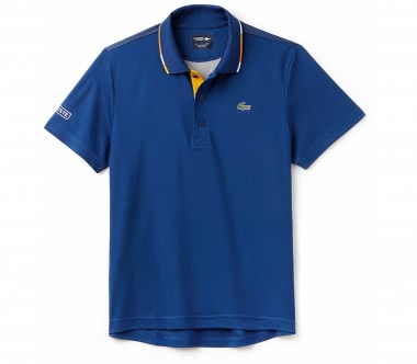 Lacoste - shorts Sleeved Ribbed Collar men's tennis polo top (blue-yellow)