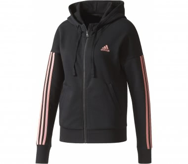 Adidas - Essential 3 Stripes Full-Zip women's training hoodie (black/pink)