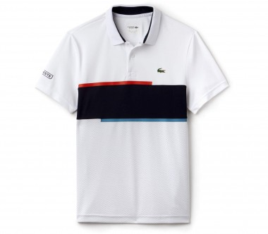 Lacoste - Ribbed Collar Shortsleeve men's tennis top (white/dark blue)