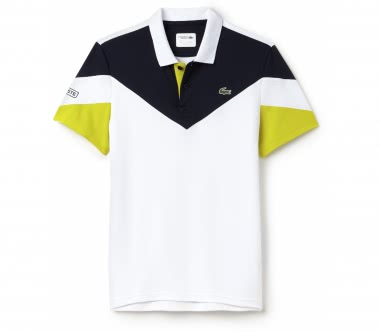Lacoste - Ribbed Collar Shortsleeve men's tennis polo top (white/yellow)