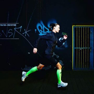 More safety for your after work run? The CEP Night Run 2.0 compression socks which are light up in b...