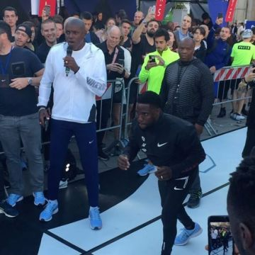 @carl_lewis_official kicking off the relay race #breaking2together with first to run @kevinhart4real...
