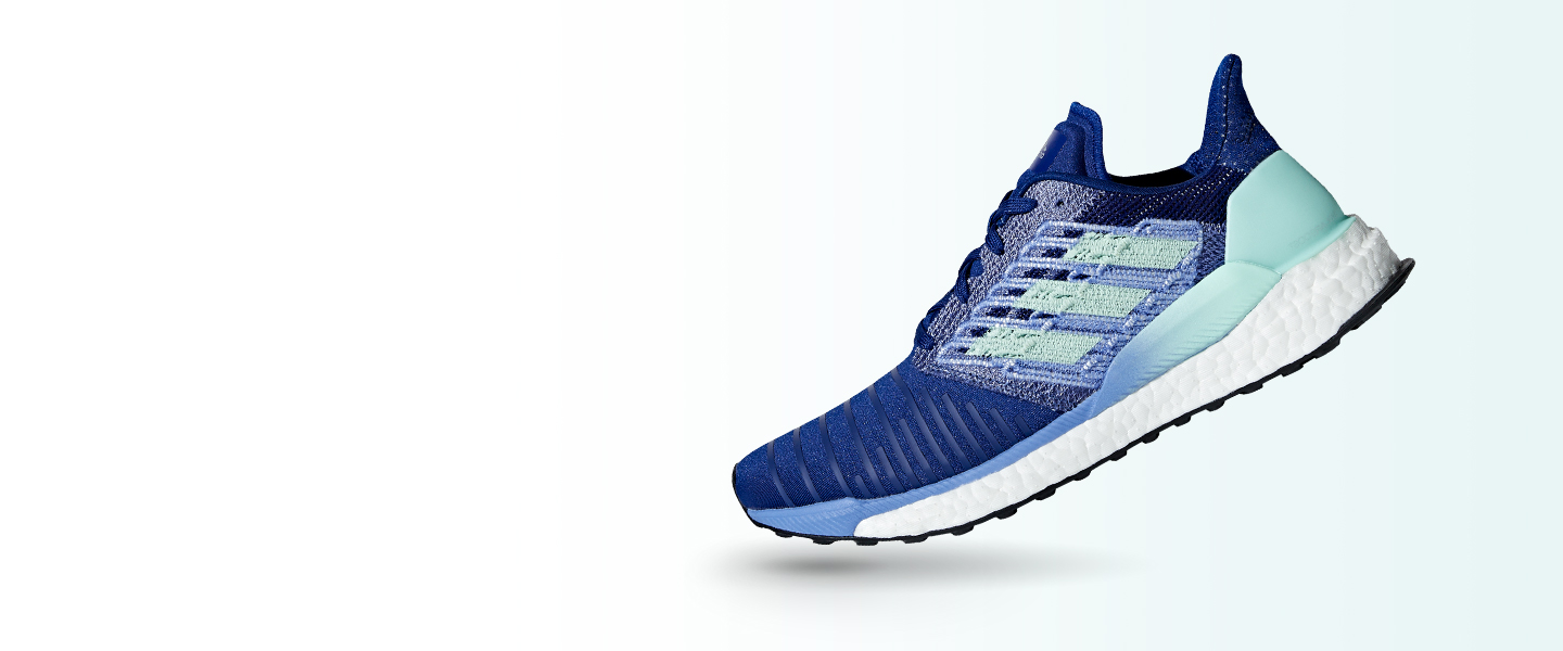 Improve every step with a low weight, non-stop energy return and a breathable upper - this is the adidas Solar Boost running shoe.
